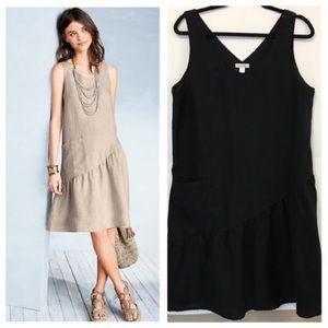 Garnet Hill Linen Trapeze Dress Black w Pocket